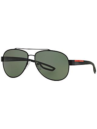 Prada Linea Rossa PS55QS Aviator Polarised Sunglasses, Black