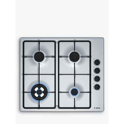 Image of BOSCH PBH6B5B60 58cm Four Burner Gas Hob With Cast Iron Pan Stands Stainless Steel
