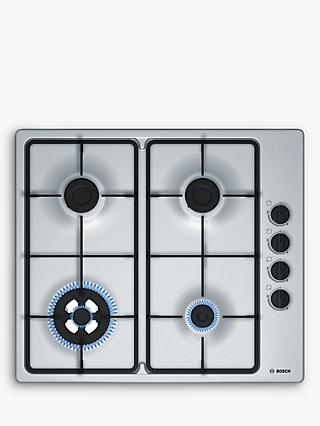 Bosch PBH6B5B60 60cm Gas Hob, Brushed Steel