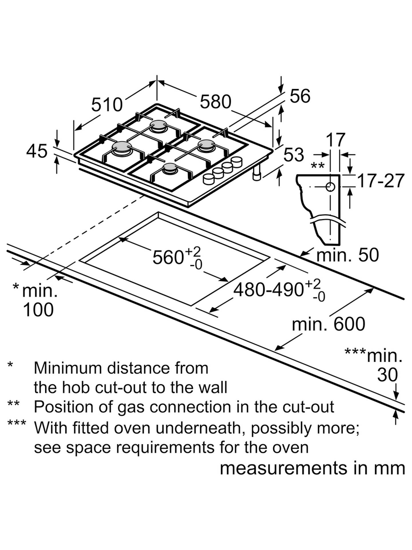 Bosch Pbh6b5b60 Gas Hob Brushed Steel At John Lewis Partners Wiring Diagram For Connecting Cooker And Buybosch Online