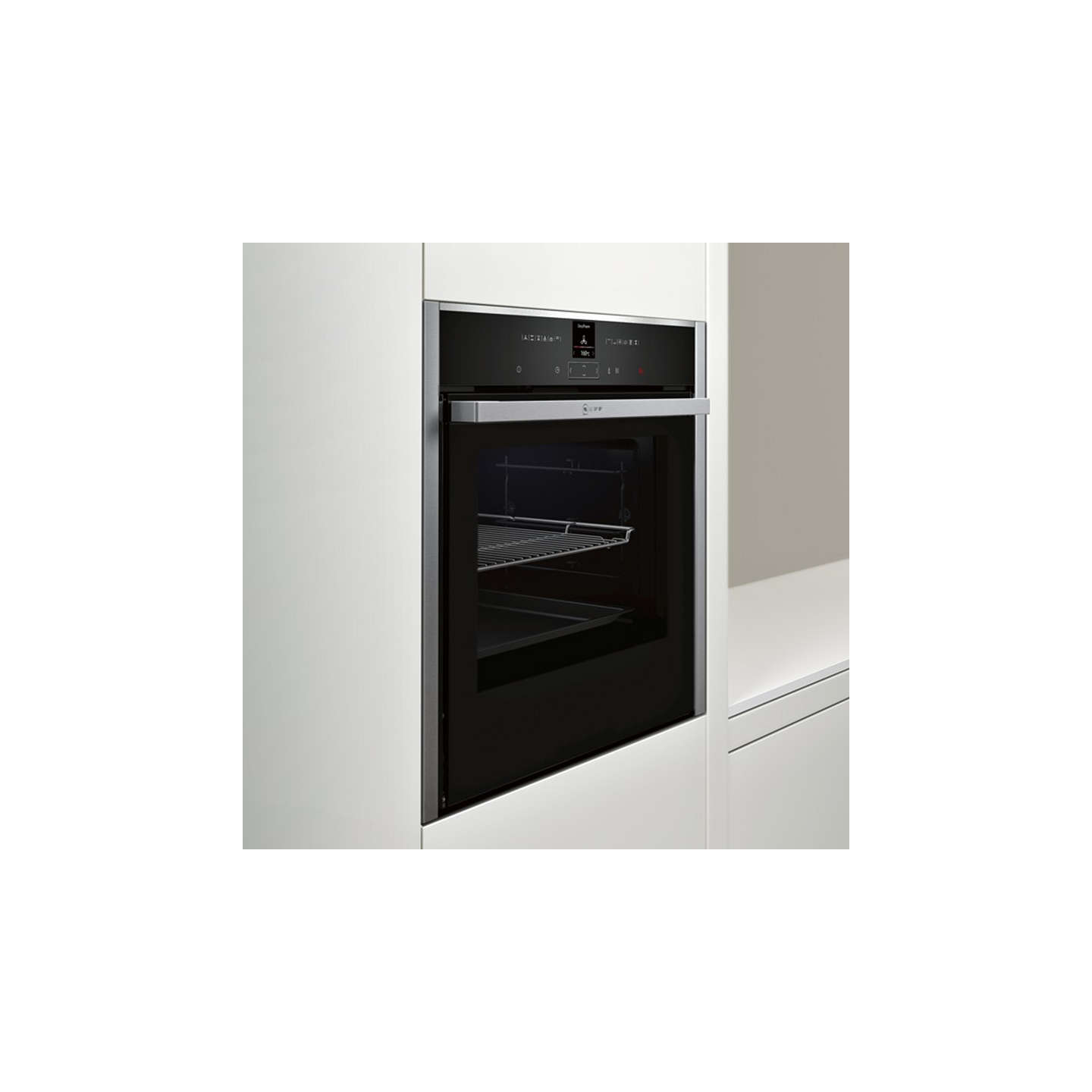 neff b57cr22n0b pyrolytic slide and hide single electric oven stainless steel at john lewis. Black Bedroom Furniture Sets. Home Design Ideas