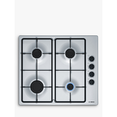 Image of BOSCH PBP6B5B60 58cm Four Burner Gas Hob Stainless Steel