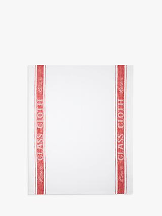 John Lewis & Partners Glass Cloth, White/Red