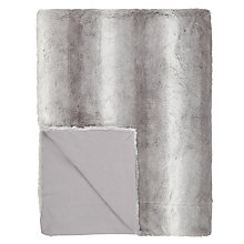 Buy John Lewis Stripe Faux Fur Throw Blanket, Grey Online at johnlewis.com