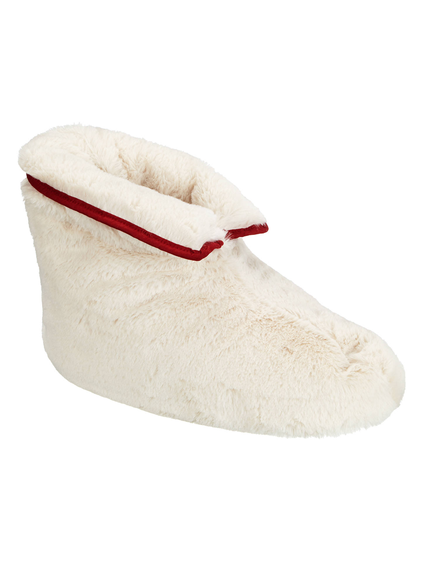 73c0cdc27d7e9 John Lewis Shearling Foot Duvet Slippers, Cream/Red at John Lewis ...
