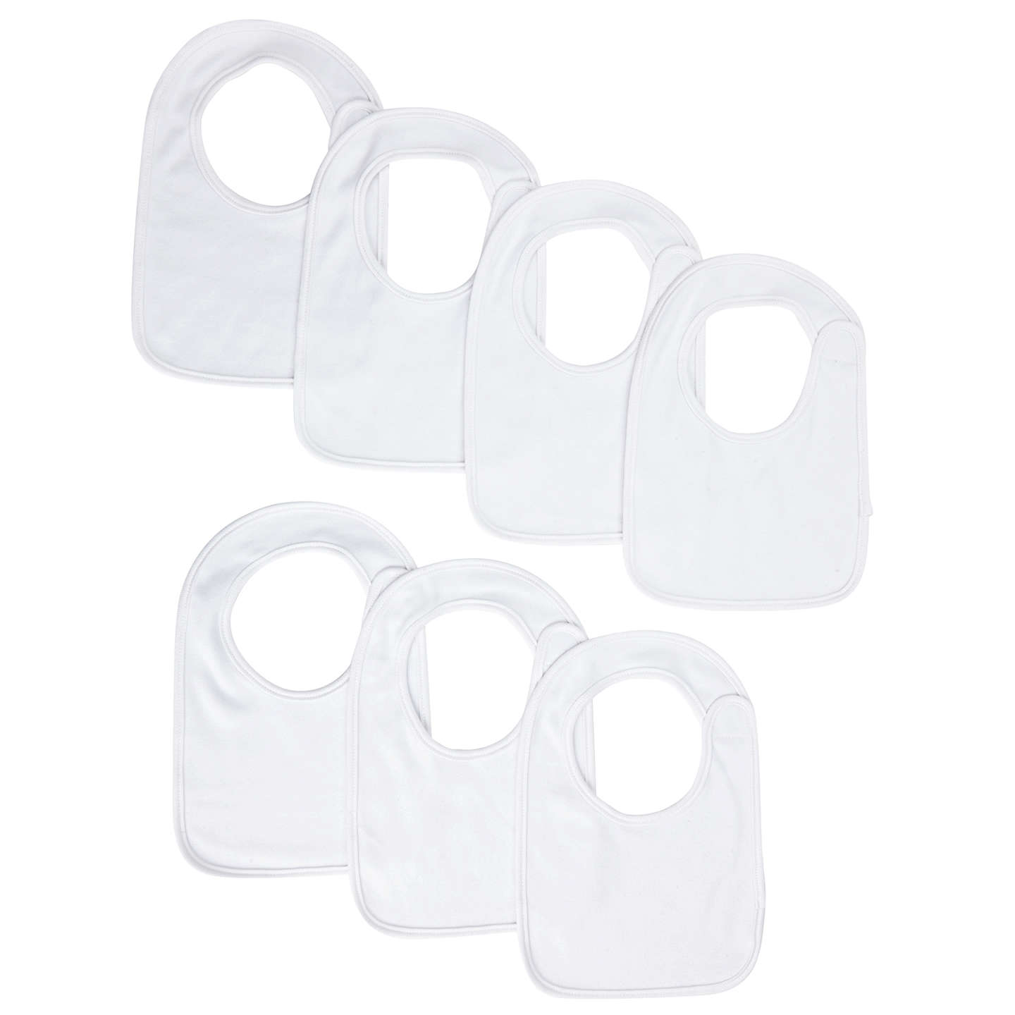 BuyJohn Lewis Baby White Bibs, Pack of 7, White Online at johnlewis.com