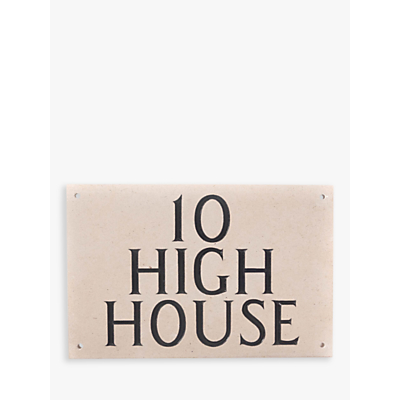The House Nameplate Company Personalised Portland Stone House Sign, 3 Line, W30.5 x H20cm x D2.5cm