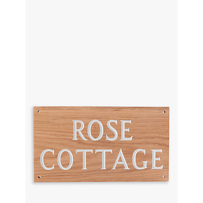 The House Nameplate Company Personalised Oak Wood House Sign, 2 Line, W35.5 x H20cm, White