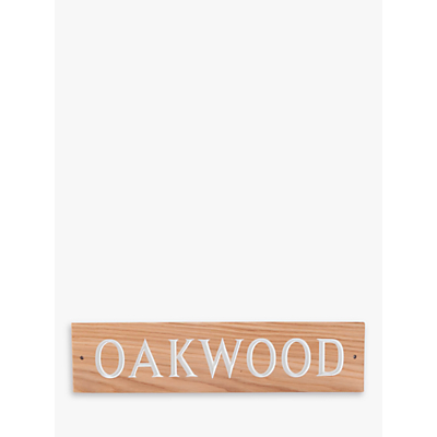The House Nameplate Company Personalised Oak Wood House Sign, 1 Line, W40.5 x H10cm, White