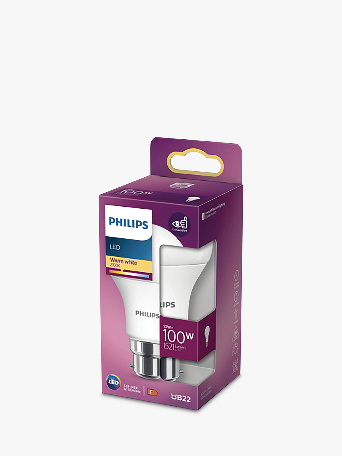 Buy Philips 13W BC LED Classic Bulb, Frosted Online at johnlewis.com