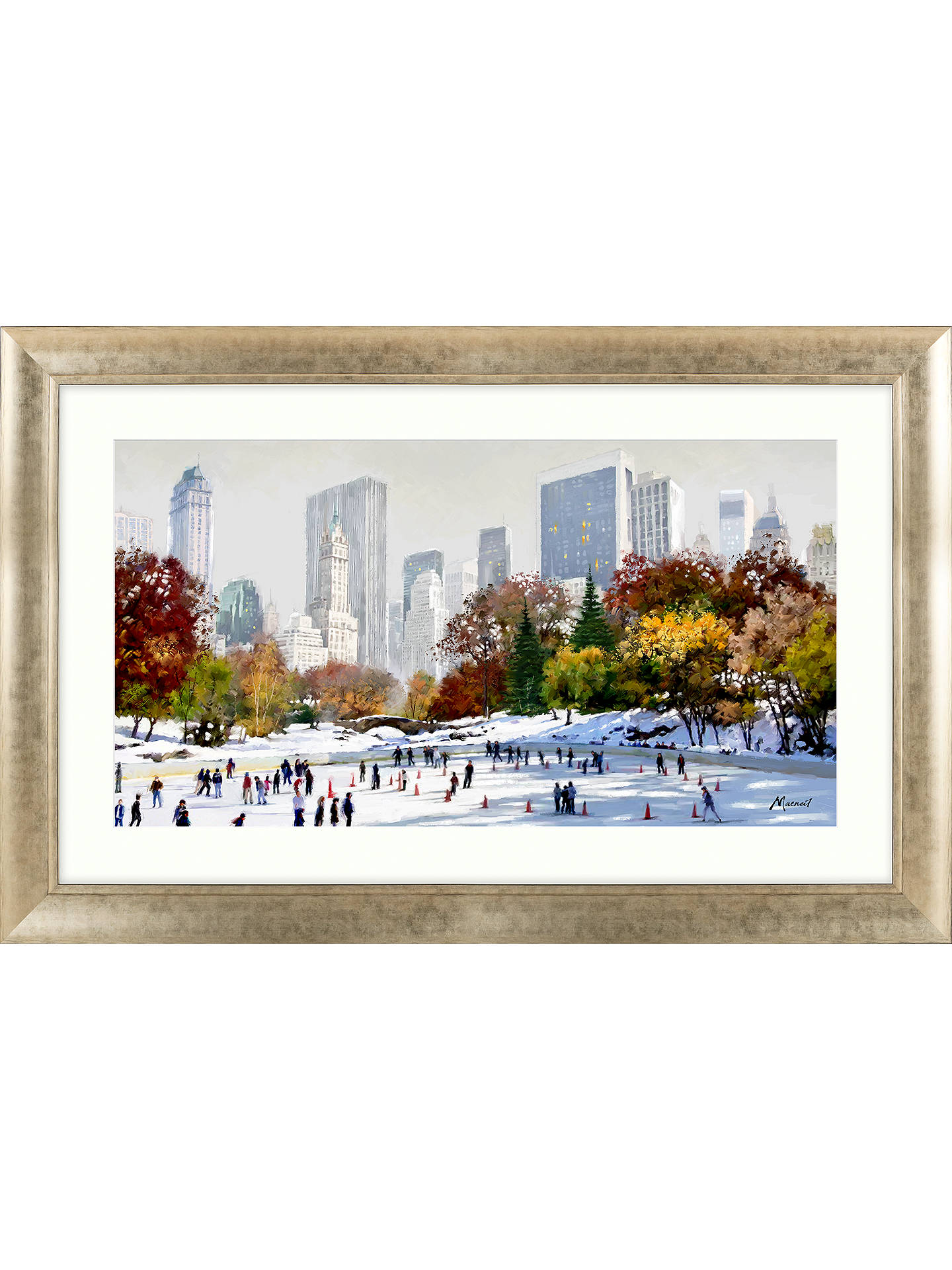 Buy Richard Macneil - Skating In New York Framed Print, 72 x 112cm Online at johnlewis.com