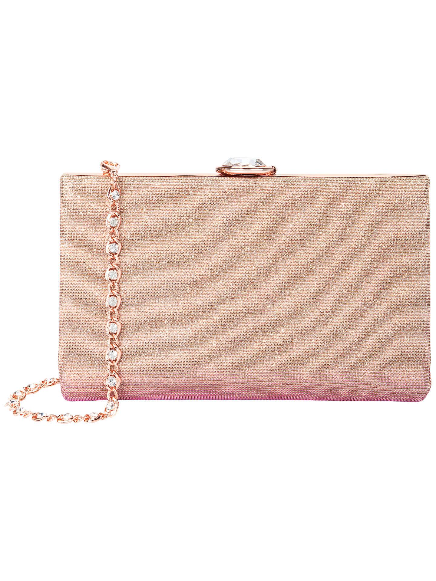Ted Baker Giselle Hard Case Glitter Clutch Bag Dusky Pink