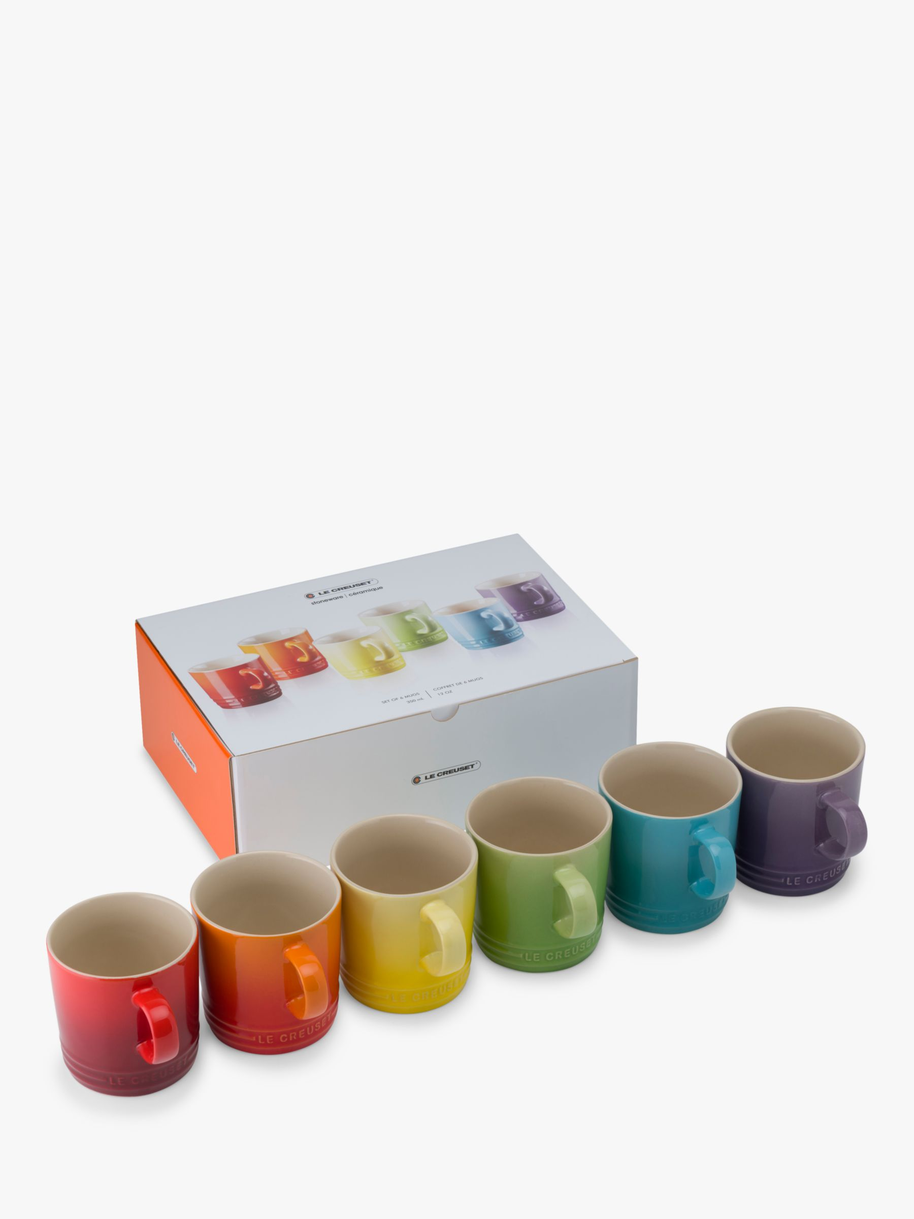 Le Creuset Le Creuset Stoneware Rainbow Mugs, 350ml, Set of 6, Assorted