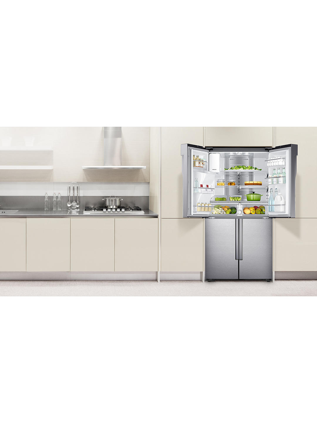 Buy Samsung RF56J9040SR 4-Door American-Style Freestanding 65/35 Fridge Freezer, A+ Energy Rating, 90cm Width, Stainless Steel Online at johnlewis.com