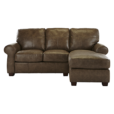 John Lewis Hampstead RHF Top Grain Leather Chaise End Sofa, High Plain Bronx