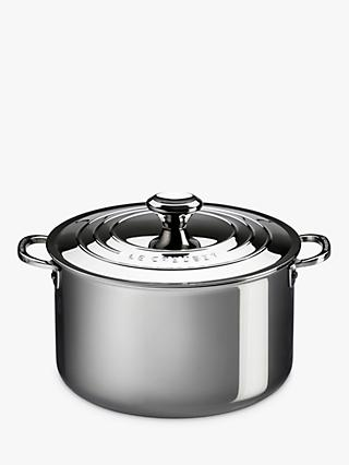 Le Creuset Signature 3-Ply Stainless Steel Stockpot and Lid, 24cm