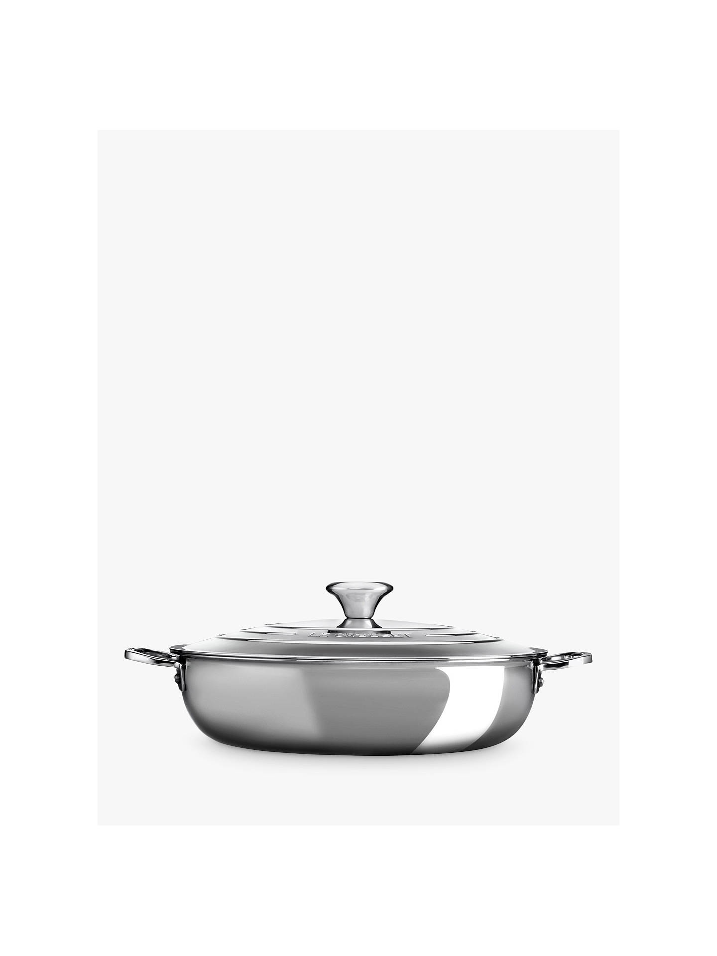BuyLe Creuset Signature 3-Ply Shallow 30cm Casserole with Lid, Stainless Steel Online at johnlewis.com