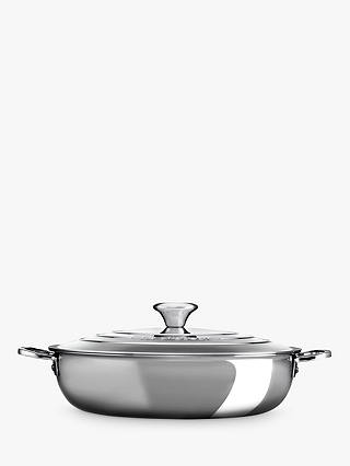 Buy Le Creuset Signature 3-Ply Shallow 30cm Casserole with Lid, Stainless Steel Online at johnlewis.com