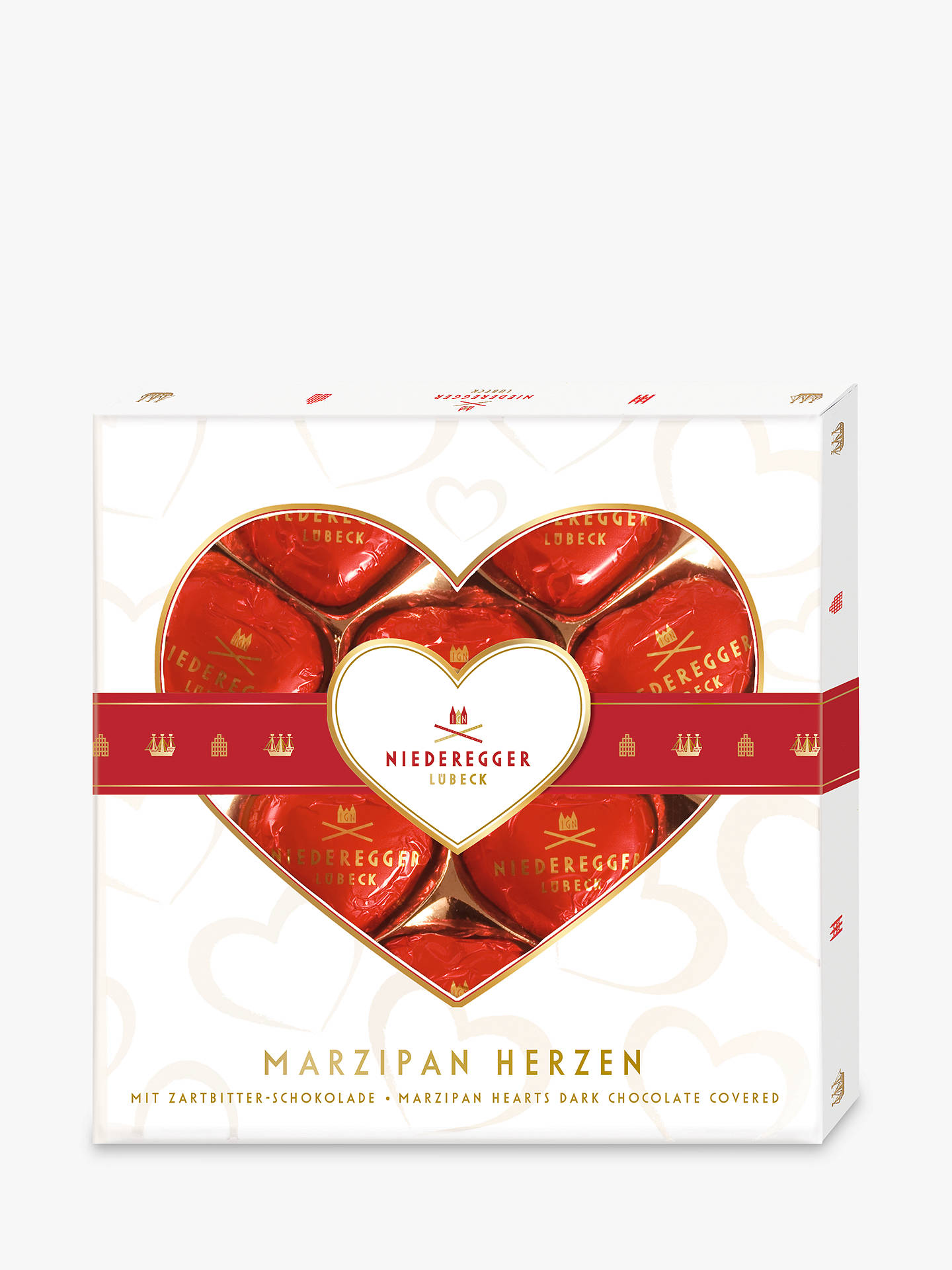 BuyNiederegger Dark Chocolate Covered Marzipan Hearts Online at johnlewis.com