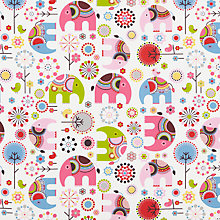 Buy little home at John Lewis Abbey Elephant Furnishing Fabric, Pink Online at johnlewis.com