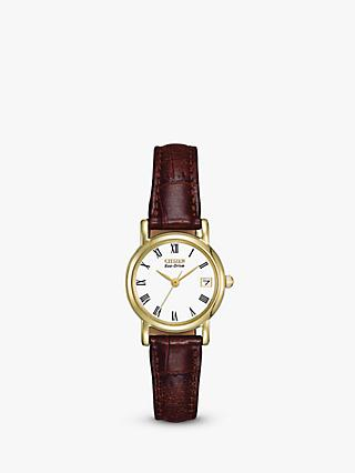 Citizen EW1272-01B Women's Eco-Drive Leather Strap Watch, Brown/White