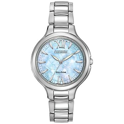 Citizen EP5990-50D Women's Silhouette Stainless Steel Bracelet Strap Watch, Silver/Blue