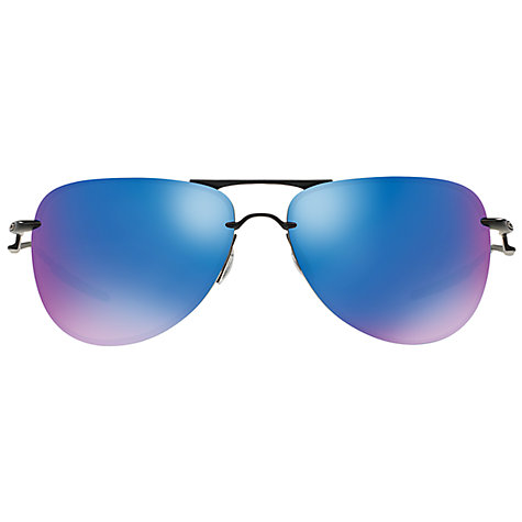 oakley blue  Buy Oakley OO4086 Tailpin Polarised Aviator Sunglasses, Black/Blue ...