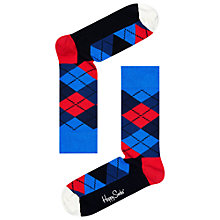 Buy Happy Socks Argyle Socks, One Size, Burgundy Multi Online at johnlewis.com