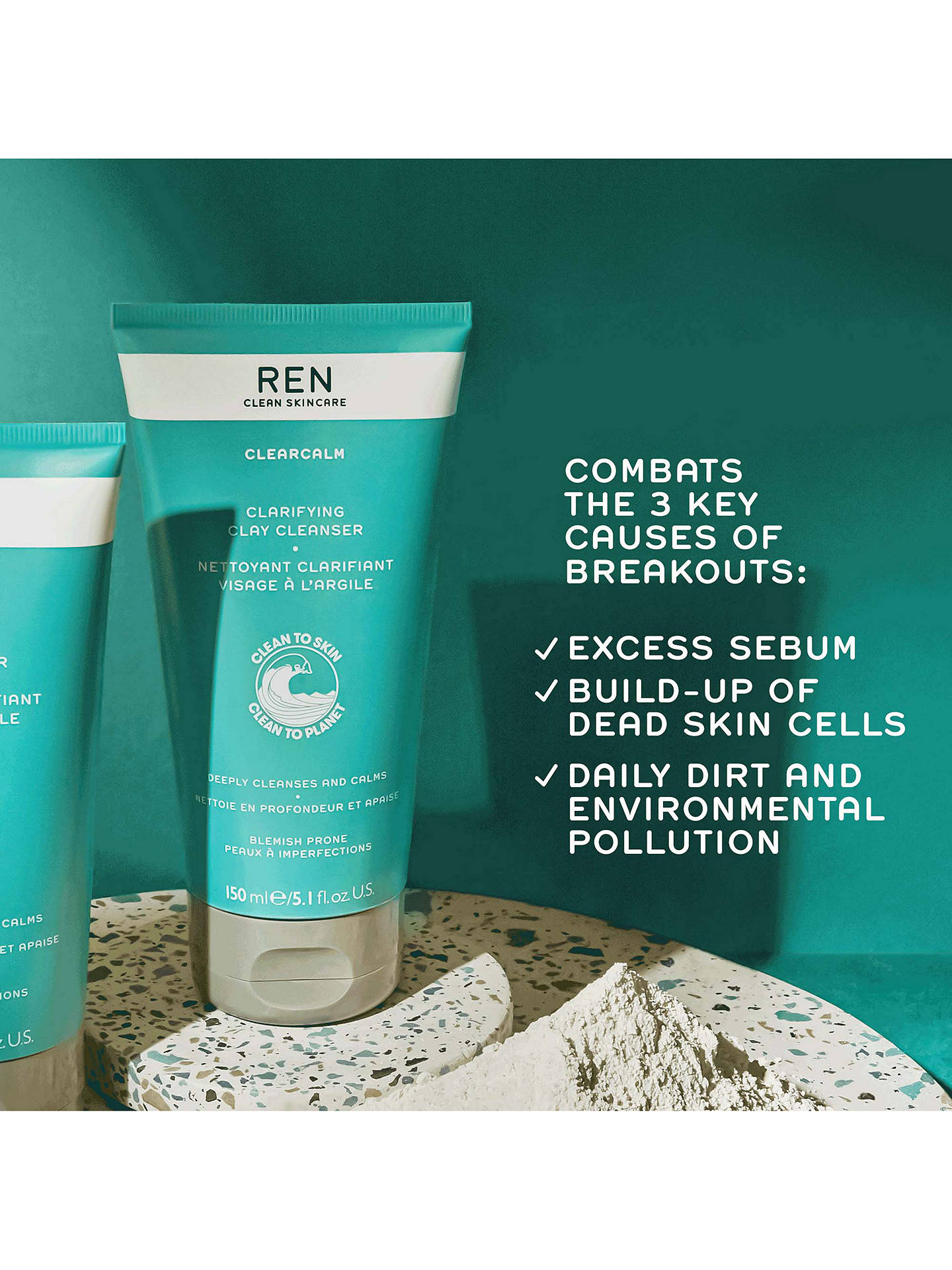 Buy REN Clarifying Clay Facial Cleanser, 150ml Online at johnlewis.com