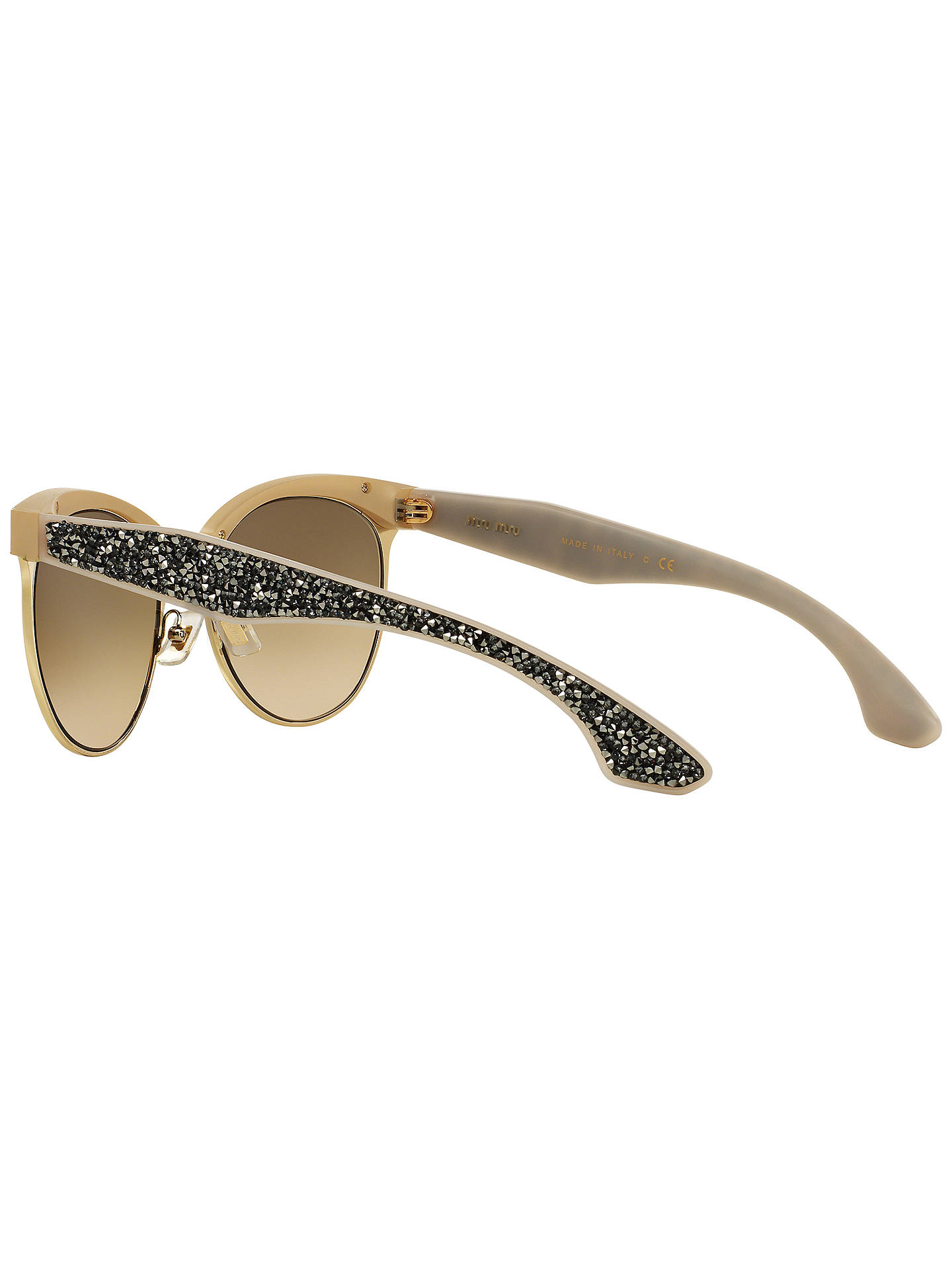 Buy Miu Miu MU54QS Stardust Bead Encrusted Sunglasses, Brown Online at johnlewis.com