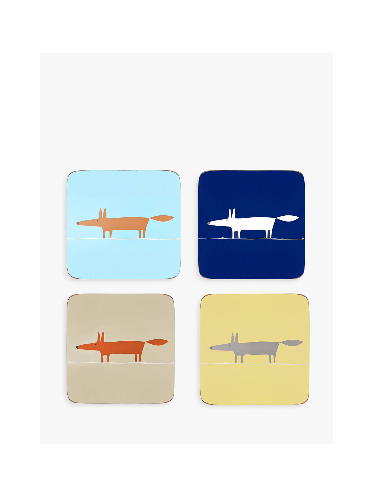Buy Scion Cork-Backed Mr Fox Coasters, Assorted, Set of 4 Online at johnlewis.com