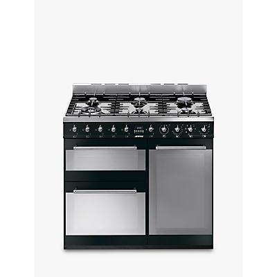 Image of Smeg SY93BL Symphony Dual Fuel Range Cooker, Black