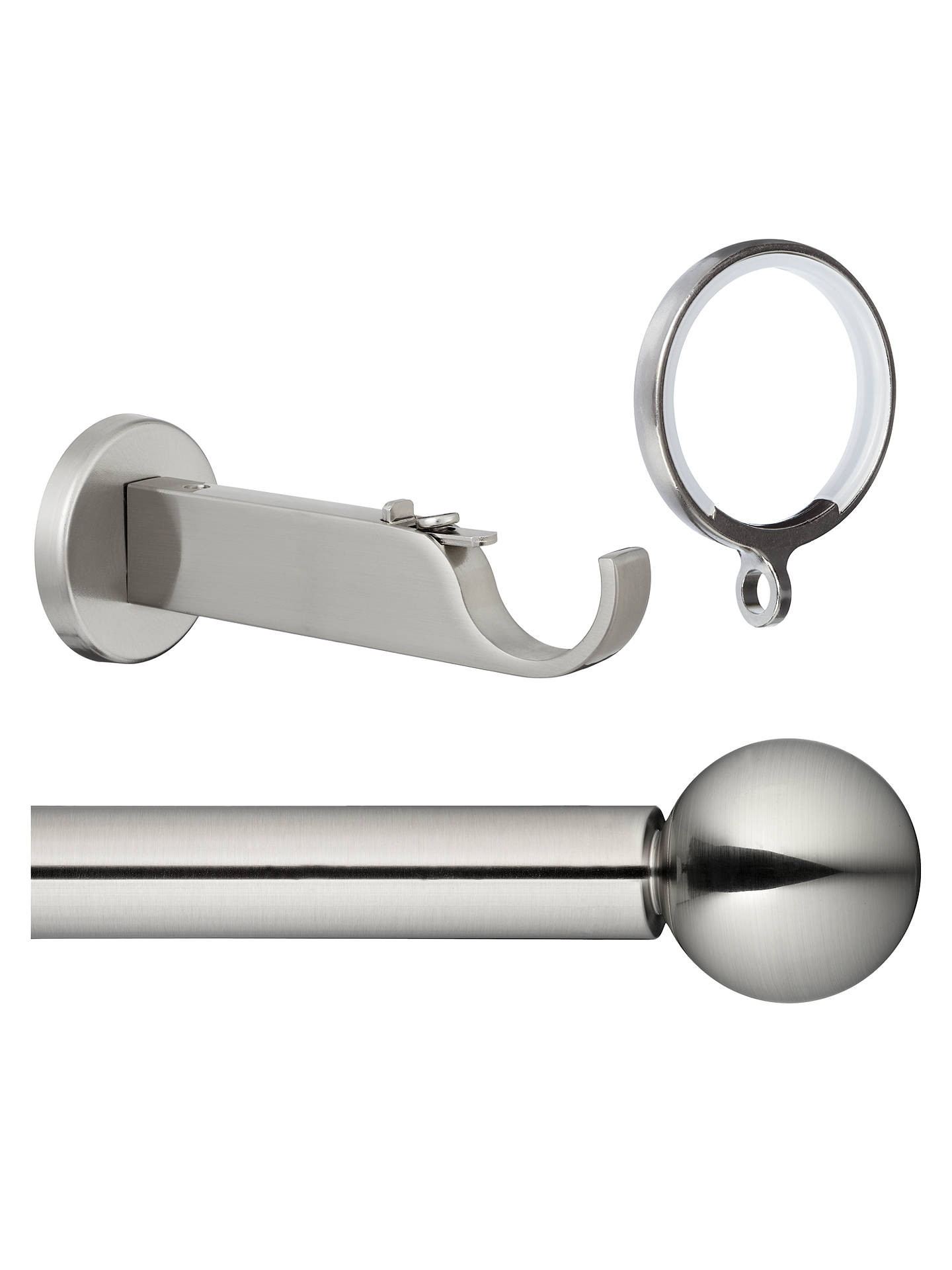 BuyJohn Lewis Steel Curtain Pole Kit, Contemporary Brackets, L300cm x Dia.28mm Online at johnlewis.com