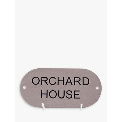 The House Nameplate Company Stainless Steel Oval House Sign, W20 x H10cm