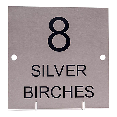 The House Nameplate Company Stainless Steel Square House Sign, Large, W28 x H28cm