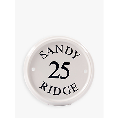 The House Nameplate Company Personalised Ceramic House Sign, Round, Dia.16cm, White