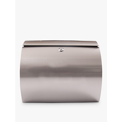 The House Nameplate Company Curve Postbox, W37.5 x H33cm, Stainless Steel