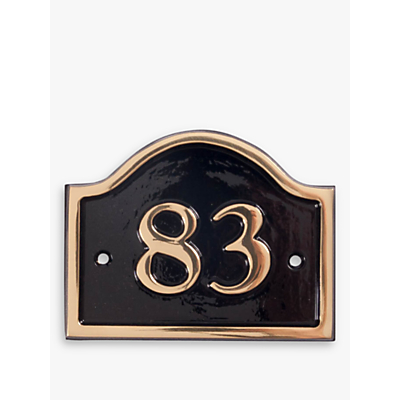 The House Nameplate Company Personalised Brass Bridge House Number, W14 x H11.5cm
