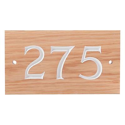 The House Nameplate Company Personalised Wood House Number, 3 Digit, W18 x H10cm, White