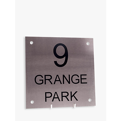 The House Nameplate Company Stainless Steel Square House Sign, Small, W20 x H20cm
