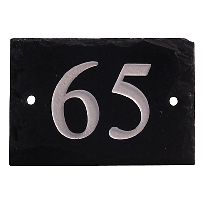 The House Nameplate Company Personalised Rustic Slate House Number, 2 Digit, W14 x H10cm