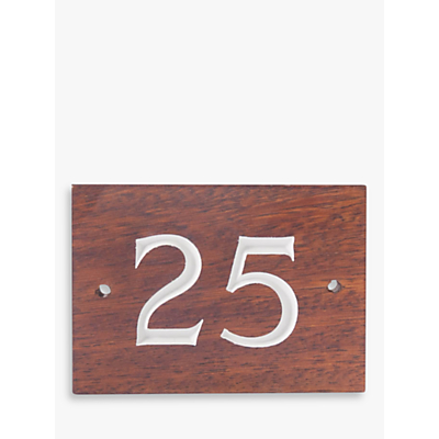 The House Nameplate Company Personalised Iroko Wood House Number, 2 Digit, W14 x H10cm, White