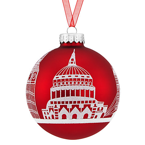 Buy John Lewis Tourism Glass London Skyline Scene Red Bauble, Red / Multi Online at johnlewis.com