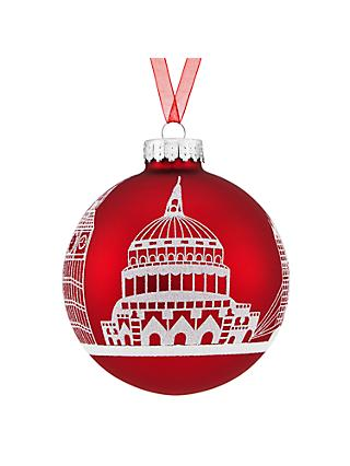John Lewis & Partners Tourism Glass London Skyline Scene Red Bauble, Red / Multi