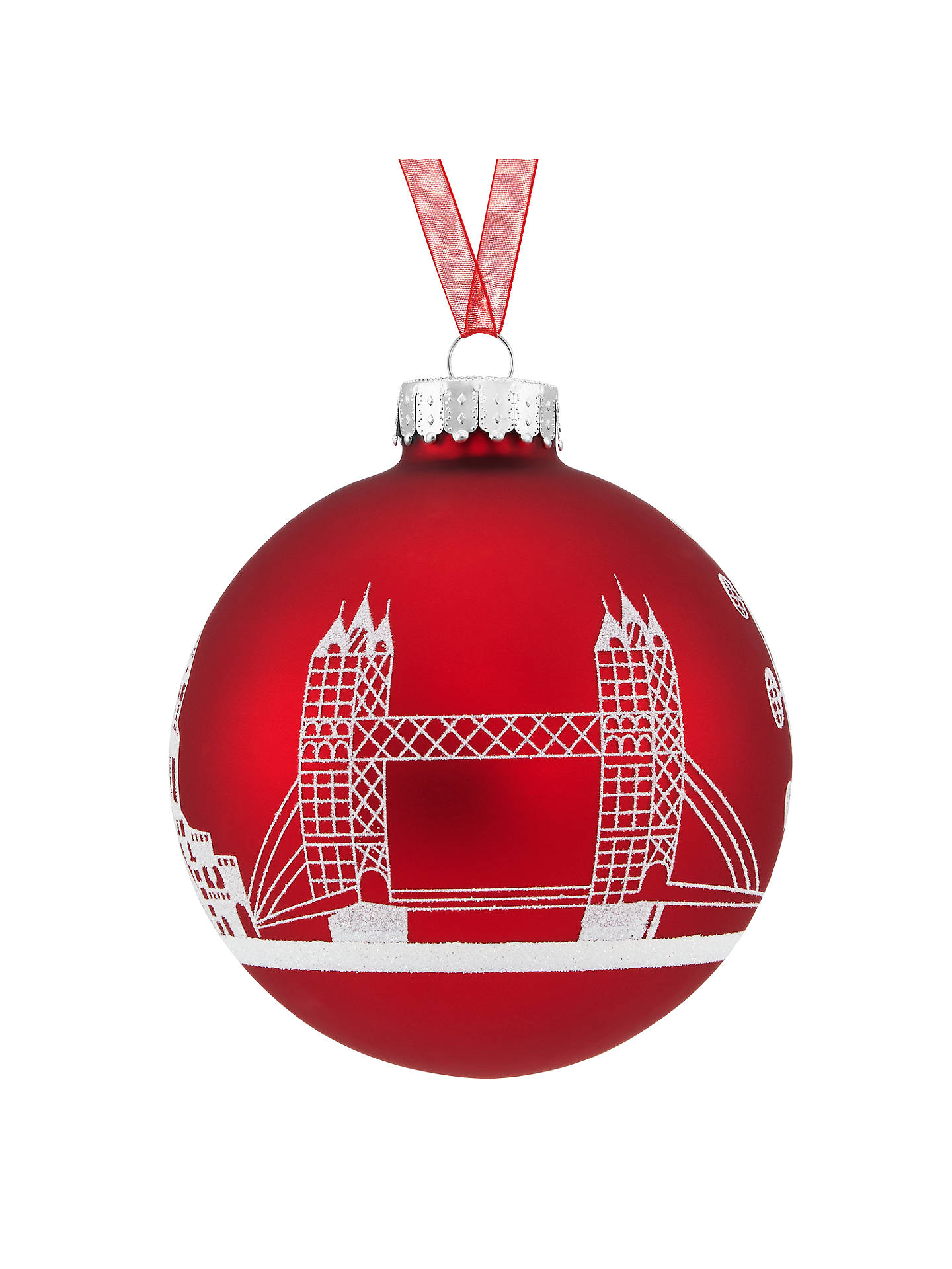 Buy John Lewis & Partners Tourism Glass London Skyline Scene Red Bauble, Red / Multi Online at johnlewis.com
