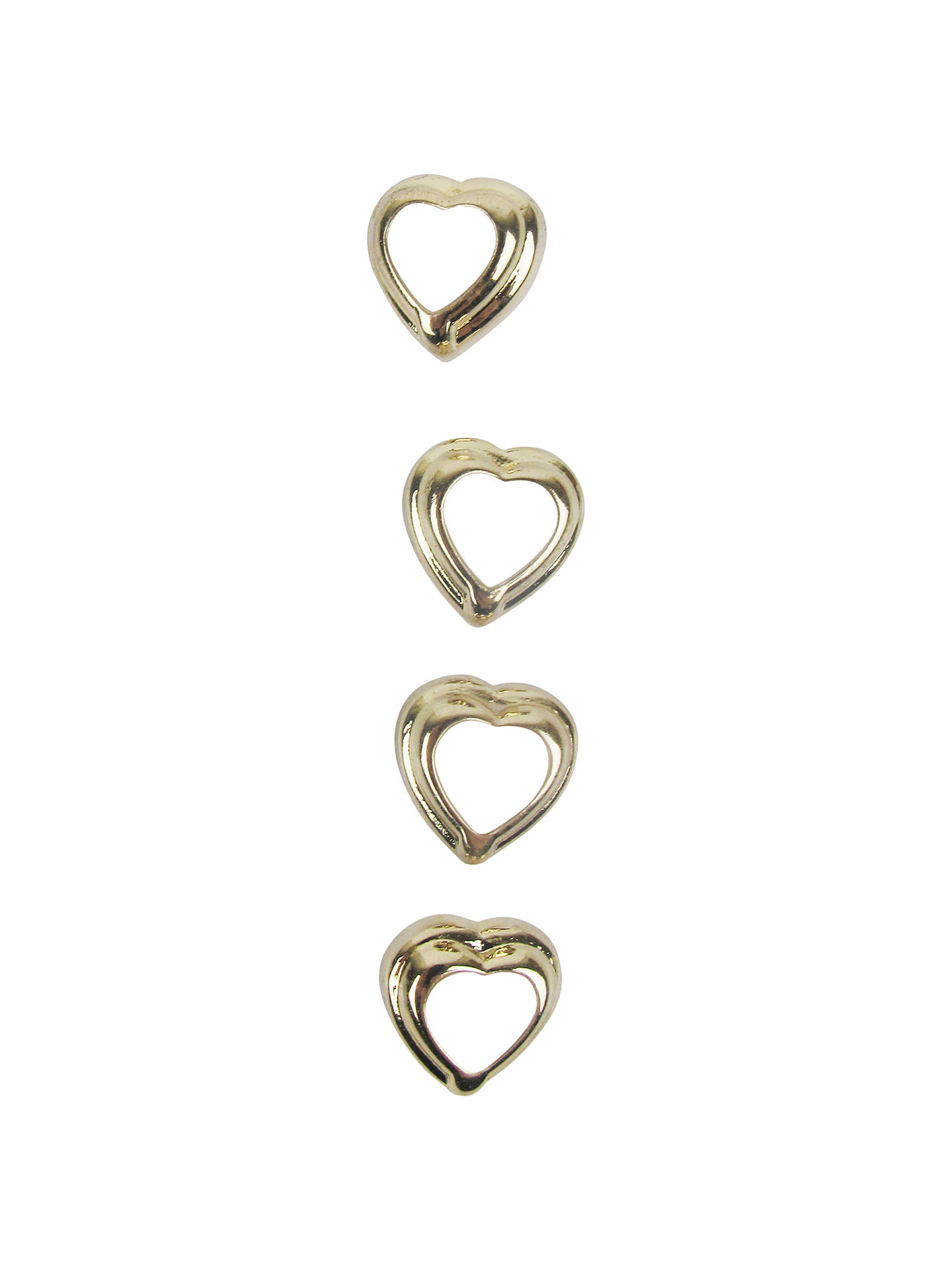 Small Heart Buttons, 11mm, Gold/White at John Lewis & Partners