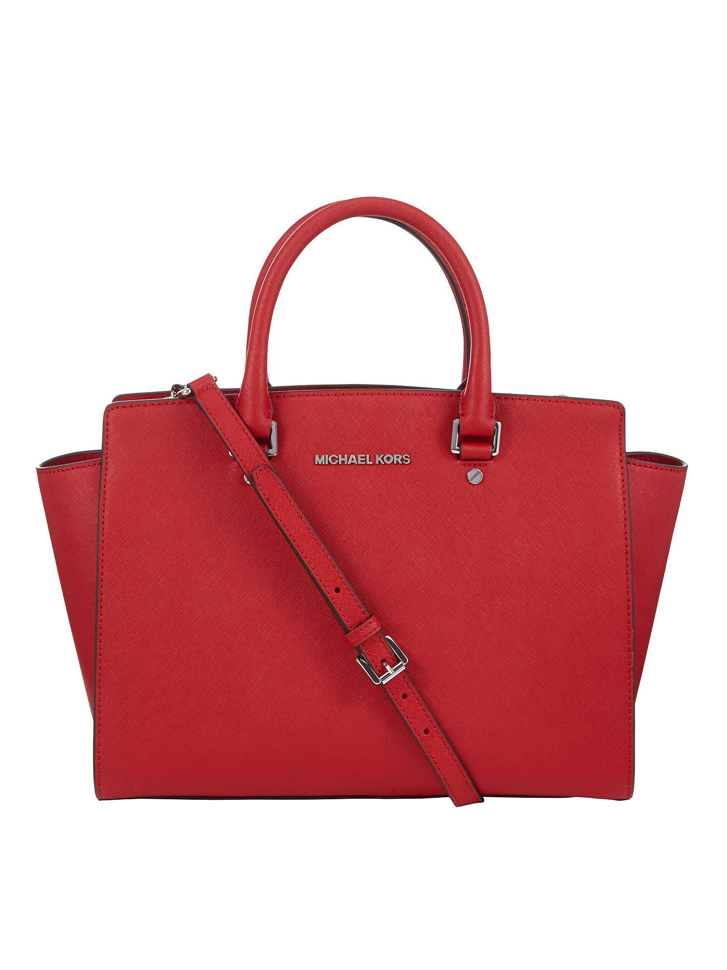 6f57ac0de6e9 ... discount buymichael michael kors selma leather satchel bag chilli  online at johnlewis 09636 5826a