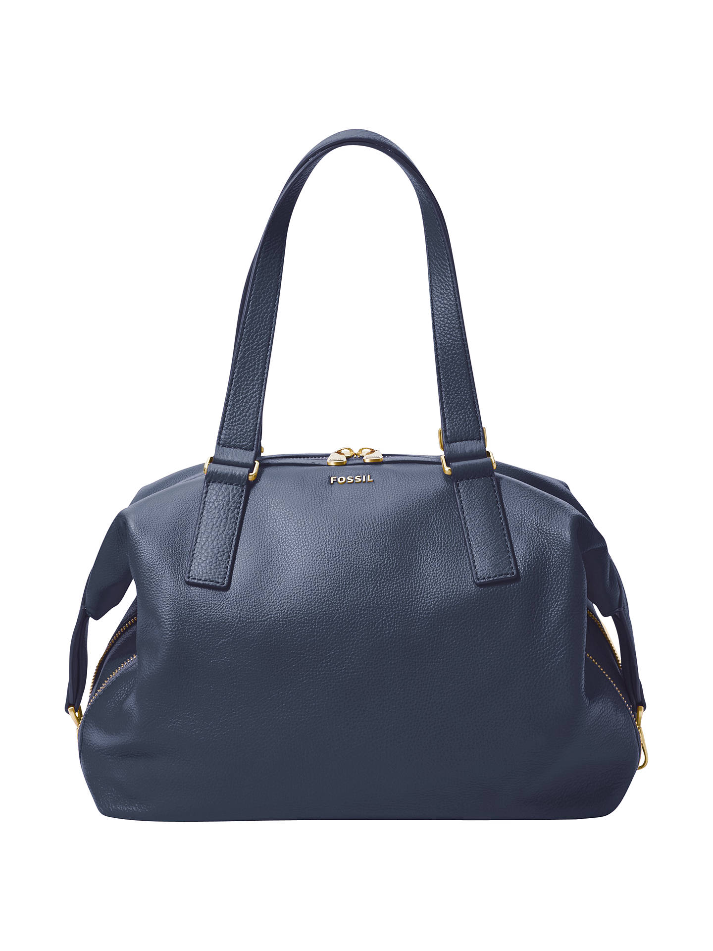 49e960a7f Buy Fossil Preston Large Leather Satchel, Navy Online at johnlewis.com ...