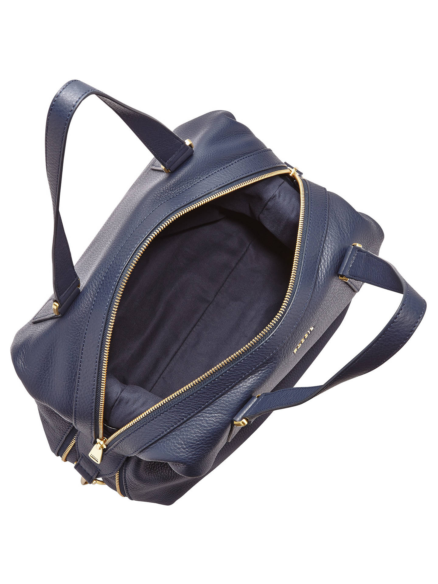b6c07551a ... Buy Fossil Preston Large Leather Satchel, Navy Online at johnlewis.com
