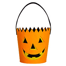 Buy John Lewis Halloween Felt Pumpkin Bucket, Orange Online at johnlewis.com
